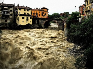 Floods in Ivrea, Italy.