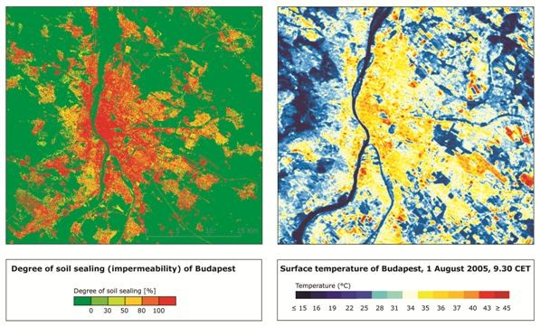 Figure 3: Comparing the degree of soil sealing and the surface temperatures in Budapest