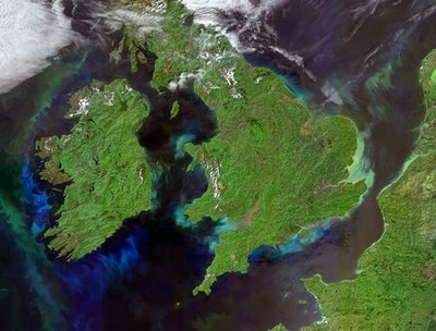 Plankton bloom, Ireland and Great Britain