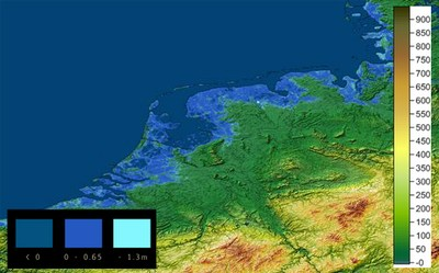 Topoqraphy, sea level increase from 0 to 1.Sm overlay - The Netherlands