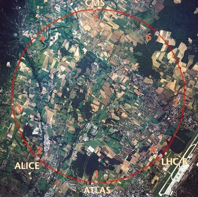 Large Hadron Collider location near Geneva