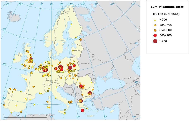 Замърсяването на въздуха от 10 000 най-големи предприятия замърсители в Европа е струвало на гражданите между 102 и 169 милиарда евро през 2009 г. Това е една от констатациите в новия доклад на Европейската агенция за околна среда (ЕАОС), който анализира разходите, свързани с вредите за здравето и околната среда, причинени от замърсяването на въздуха.  Половината от общата стойност на разходите от вреди (между 51 и 85 милиарда евро) са причинени от едва 191 предприятия.