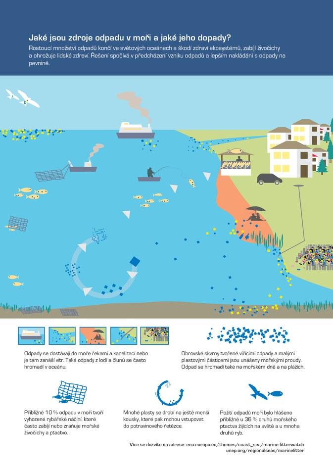 Rostoucí množství odpadů končí ve světových oceánech a škodí zdraví ekosystémů, zabíjí živočichy a ohrožuje lidské zdraví. Řešení spočívá v předcházení vzniku odpadů a lepším nakládání s odpady na pevnině.