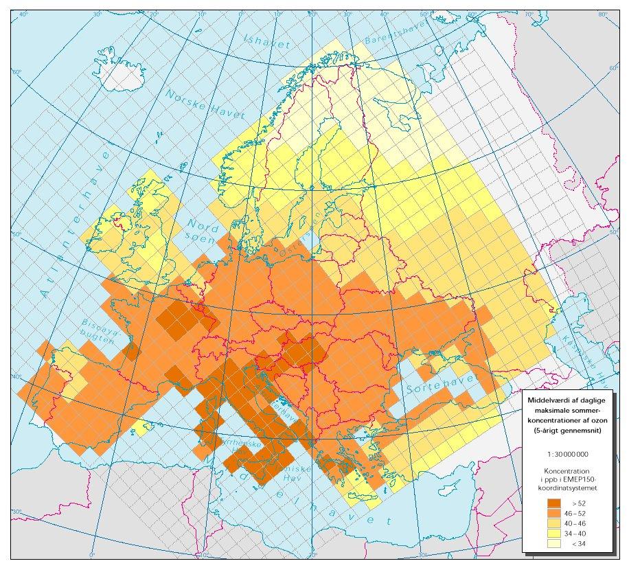 Den daglige maksimale sommerkoncentration af ozon