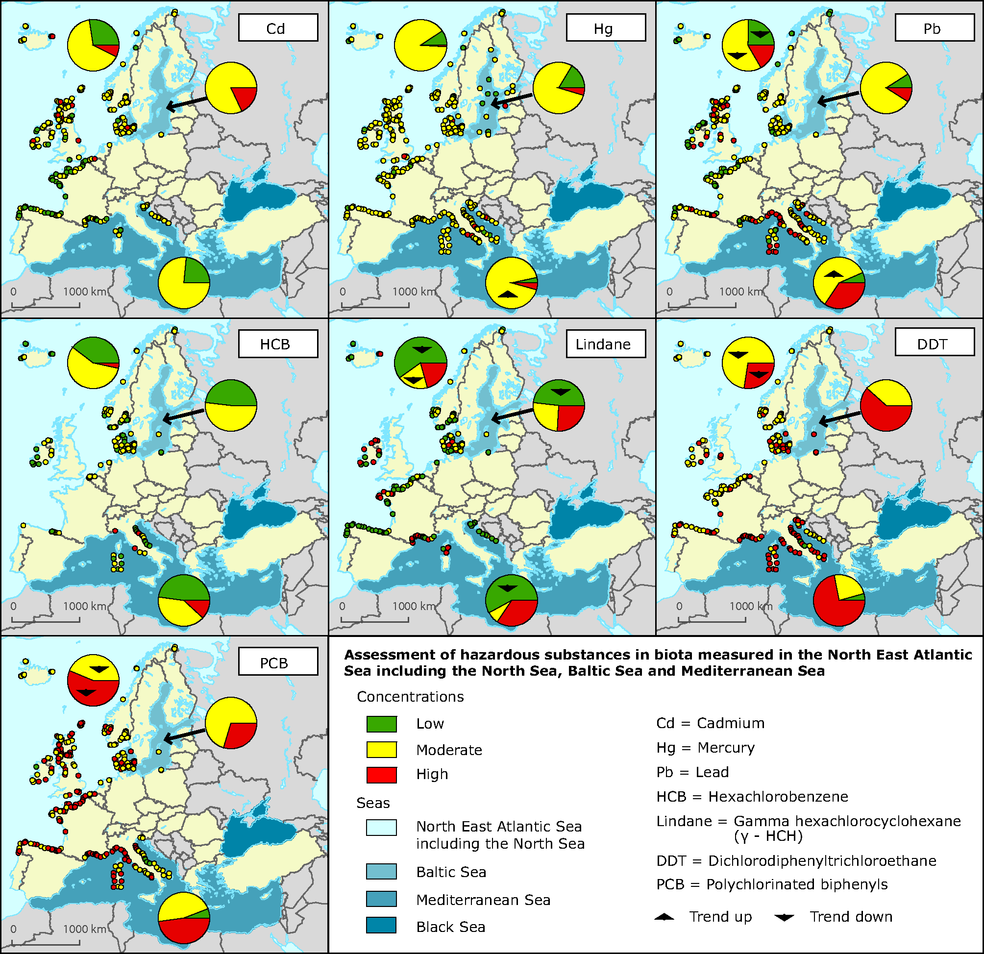 Aggregated assessment of hazardous substances in biota measured in the North East Atlantic, Baltic Sea and Mediterranean Sea; 1998-2010