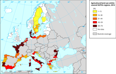 Agricultural land use within coastal NUTS2 regions