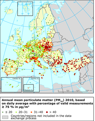Annual mean particulate matter (PM10) 2010, based on daily average with percentage of valid measurements ≥ 75 % in μg/m3