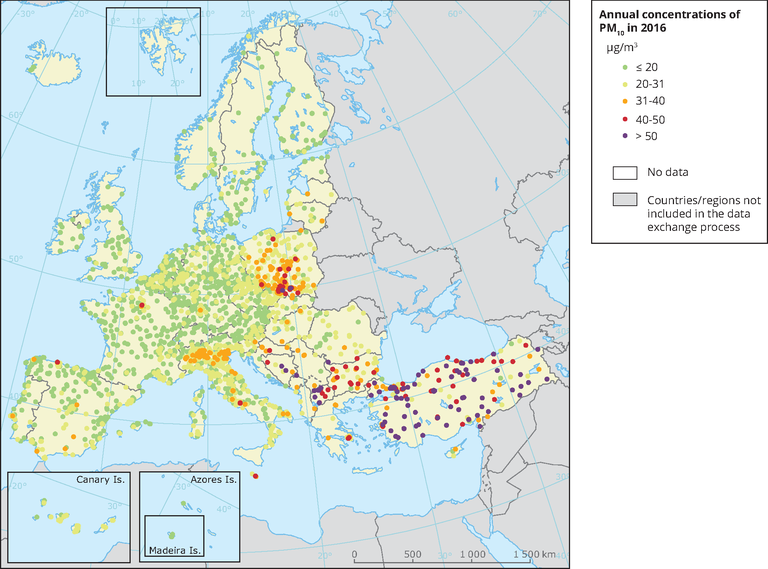 Maps 2016.Annual Concentrations Of Pm10 In 2016 European Environment Agency