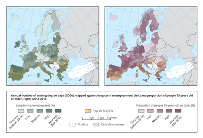 Annual average cooling degree days, 1990-2016, mapped against long-term unemployment (left) and proportion of people >= 75 years old (right), 2013-2014