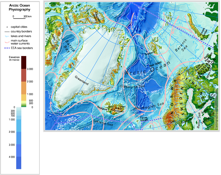 Arctic Ocean physiography (depth distribution and main currents in ...