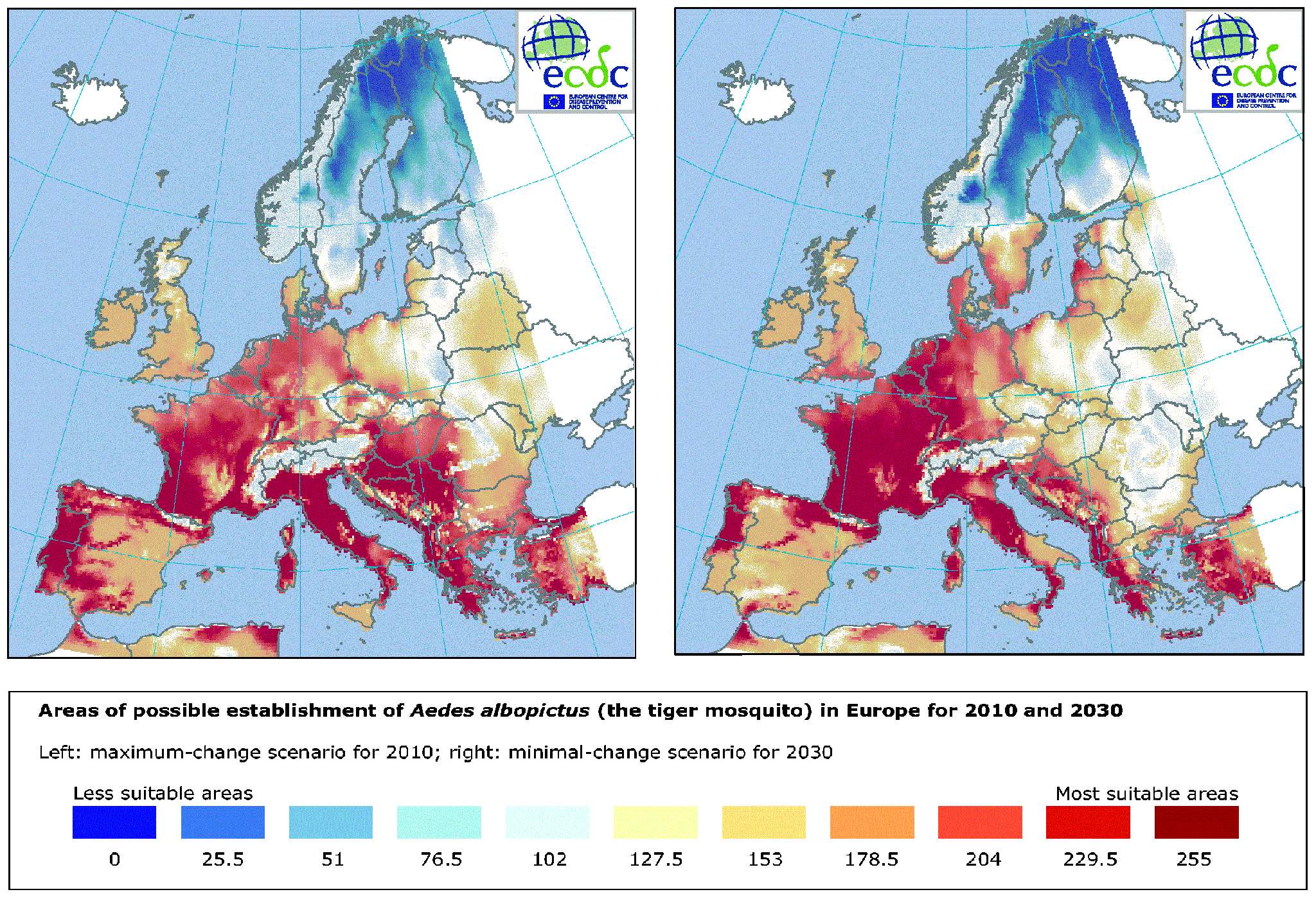 Areas of possible establishment of Aedes albopictus (the tiger mosquito) in Europe for 2010 and 2030
