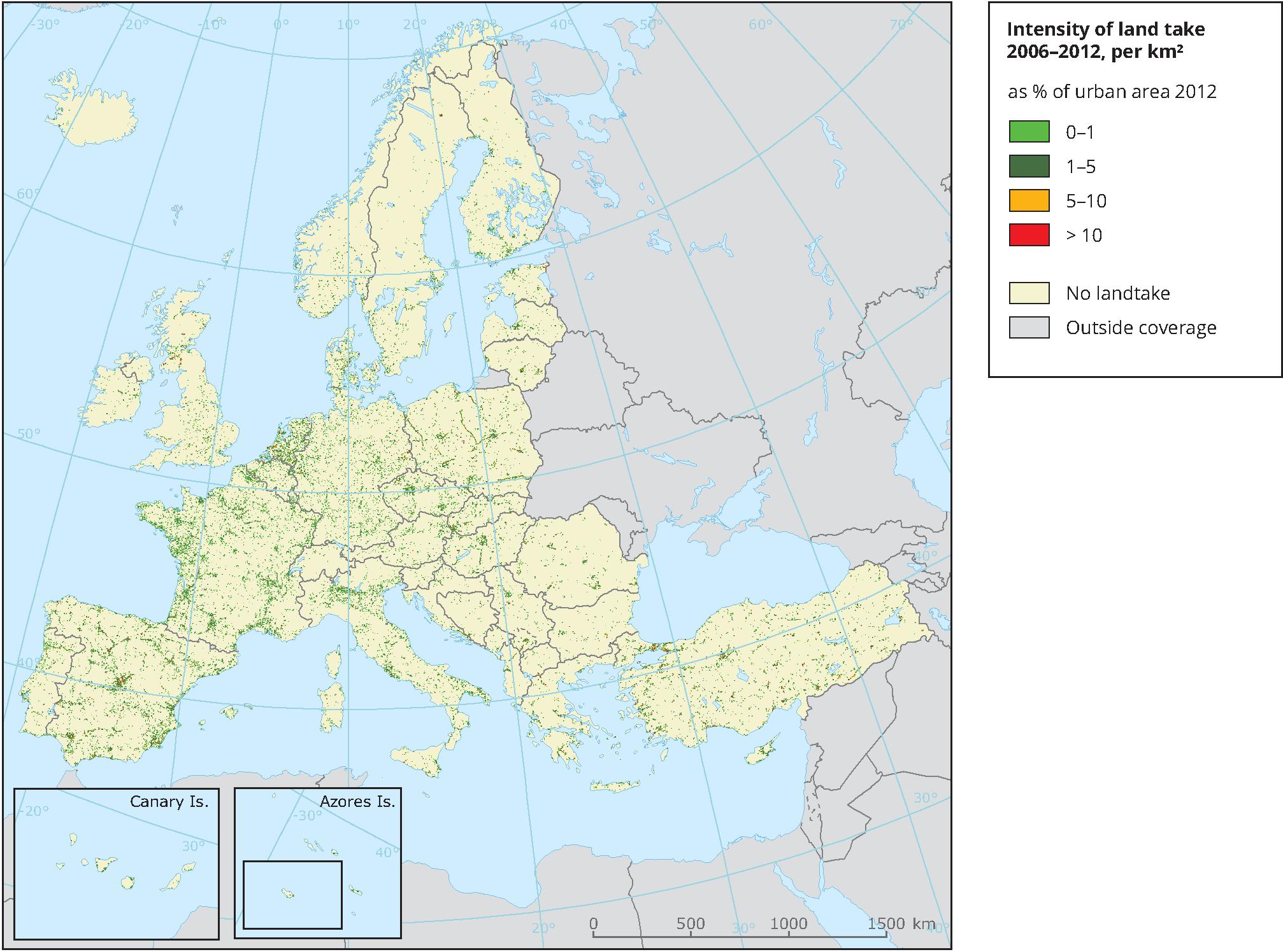 Intensity of land take 2006-2012, per km²
