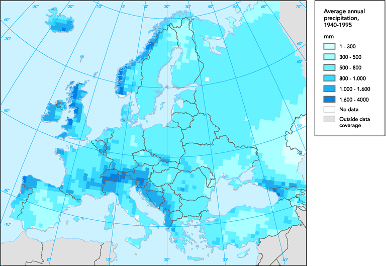 Precipitation World Map.Average Annual Precipitation European Environment Agency