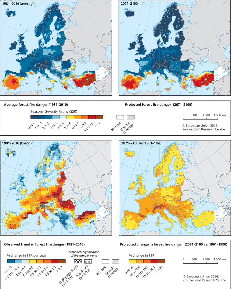 Large Wildfire Map.Forest Fires European Environment Agency