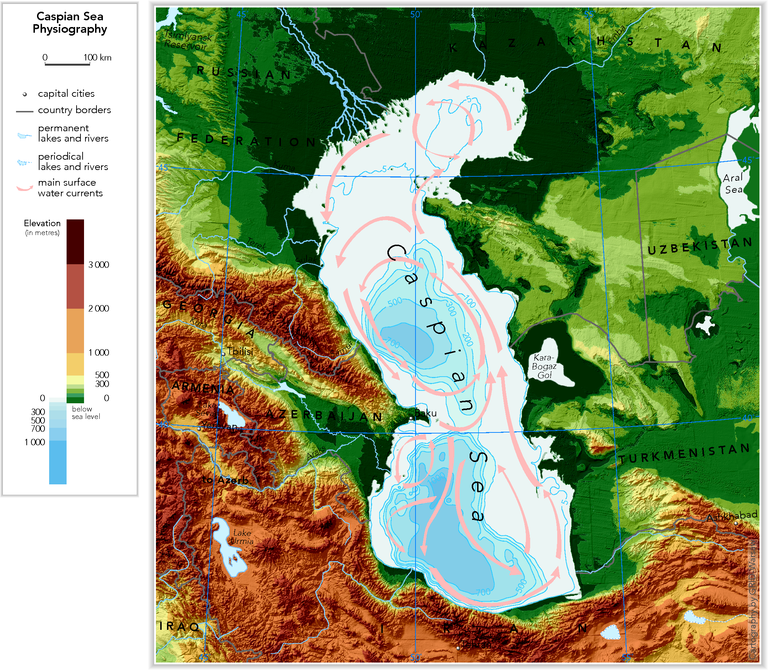 Caspian Sea physiography (depth distribution and main ...
