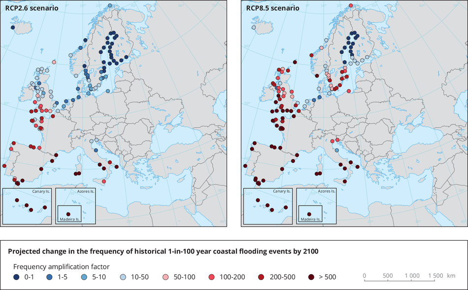 Change in the frequency of flooding events in Europe under projected sea level rise under two climate scenarios