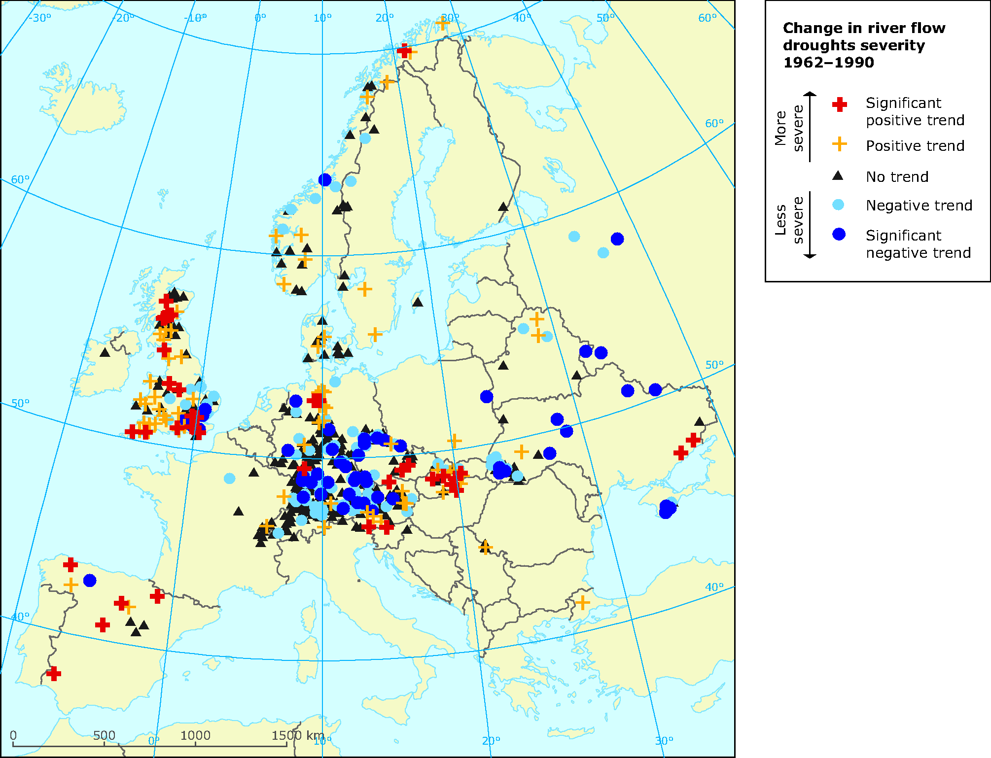 Change in the severity of river flow droughts in Europe 1962-1990