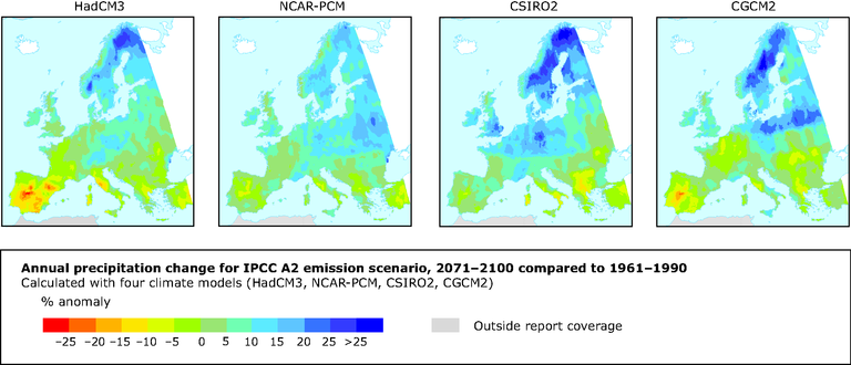Changes in annual precipitation for the IPCC A2 scenario