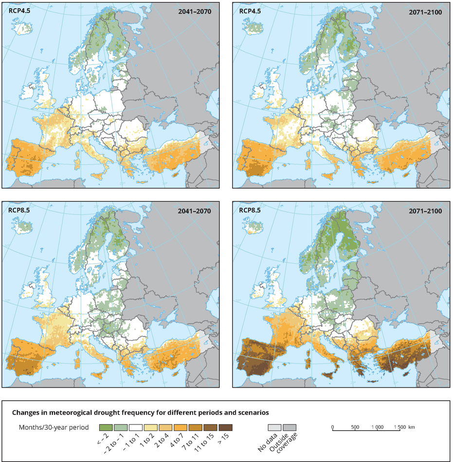 Projected change in the frequency of meteorological droughts
