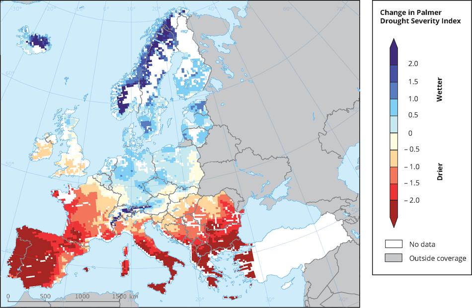 Projected change in summer soil moisture