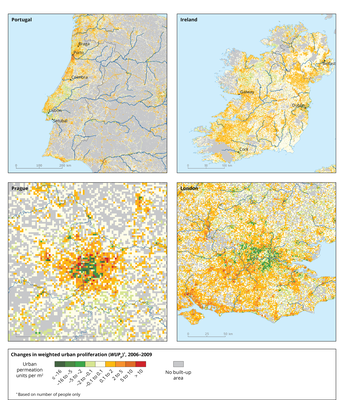 Changes in WUPp between 2006 and 2009