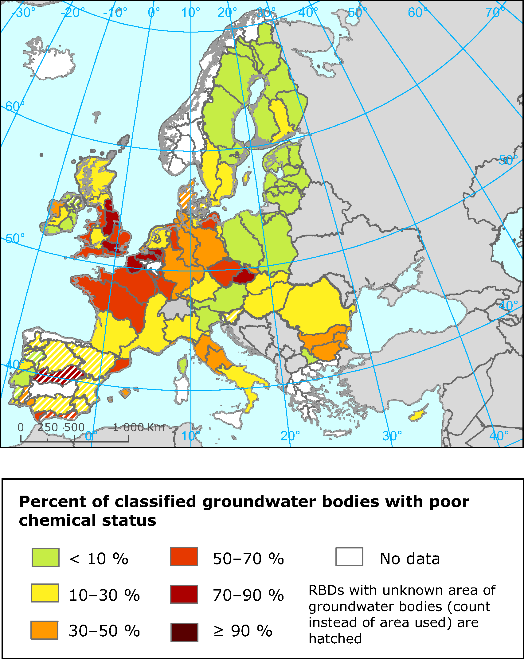 Proportion of classified groundwater bodies in different River Basin Districts in poor chemical status
