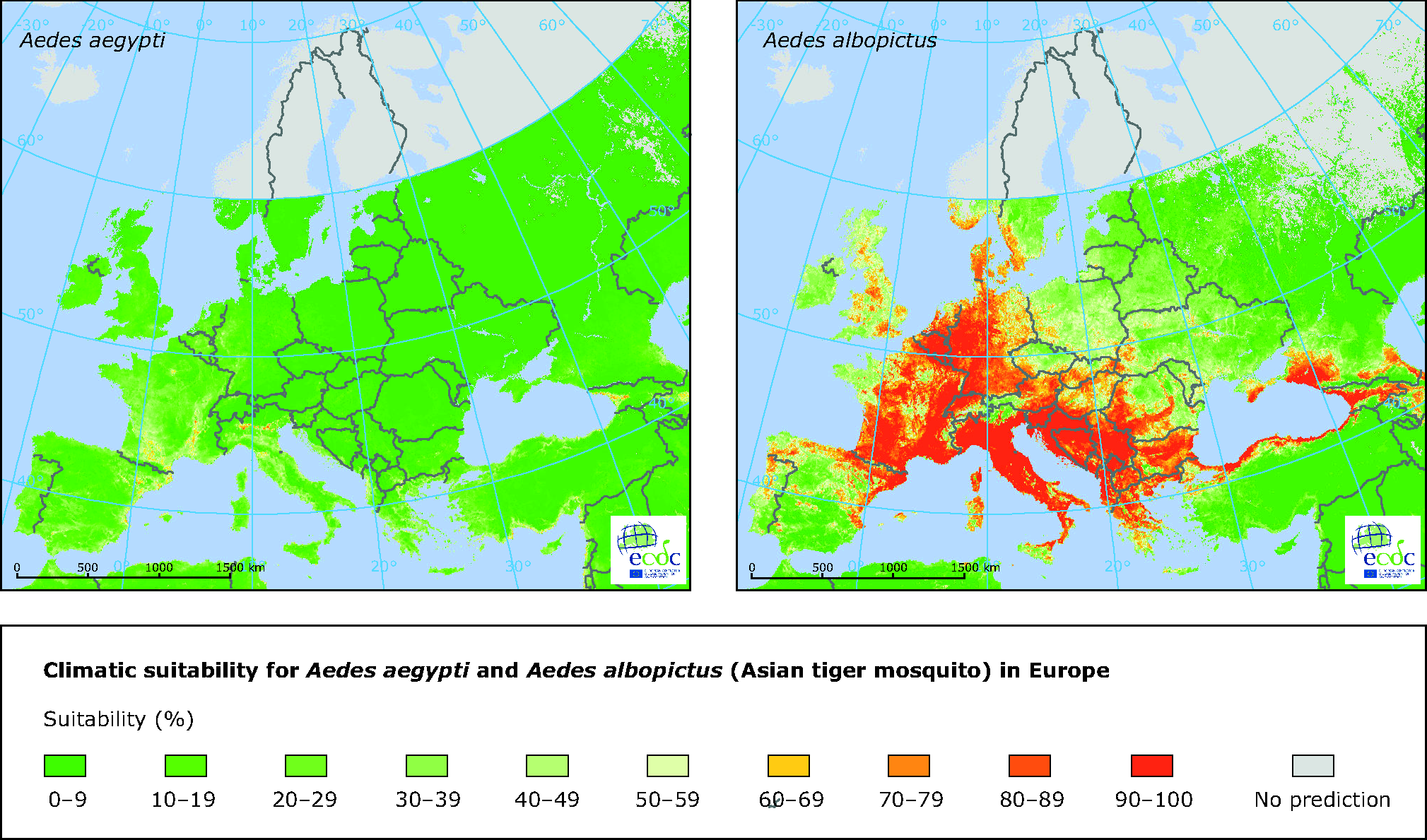 Climatic suitability for the mosquitos Aedes aegypti and Aedes albopictus in Europe