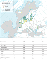 Combined effects of land-based pressures on species and habitat in Europe's seas