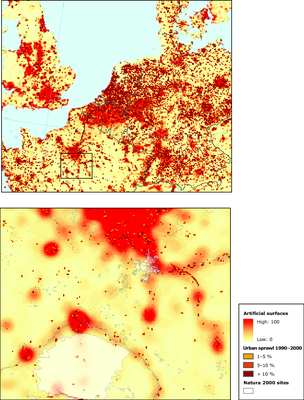 CORILIS map of urban temperatures, and locations of major increases