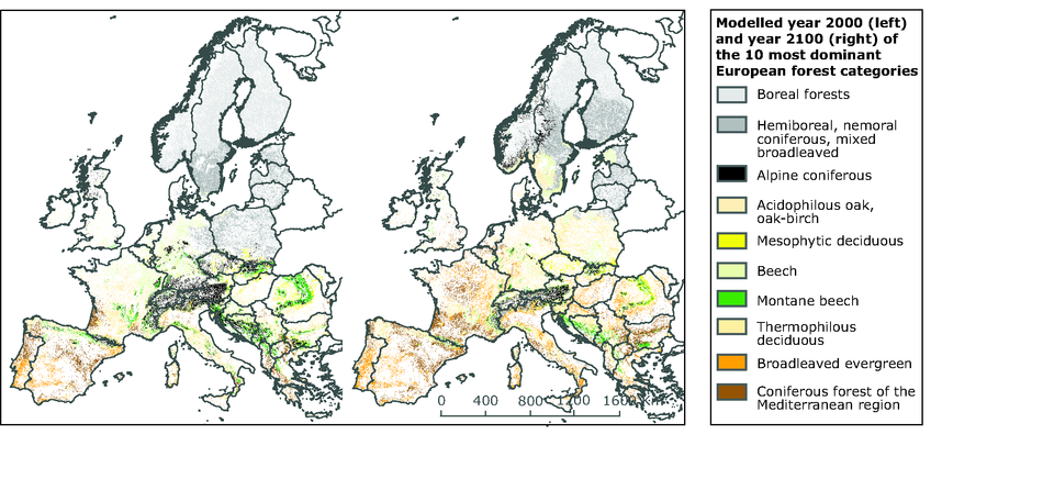 Current (2000) and projected (2100) forest coverage in Europe