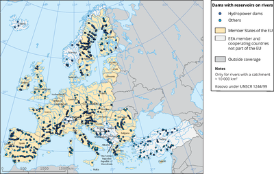 Dams with reservoirs on rivers in Europe