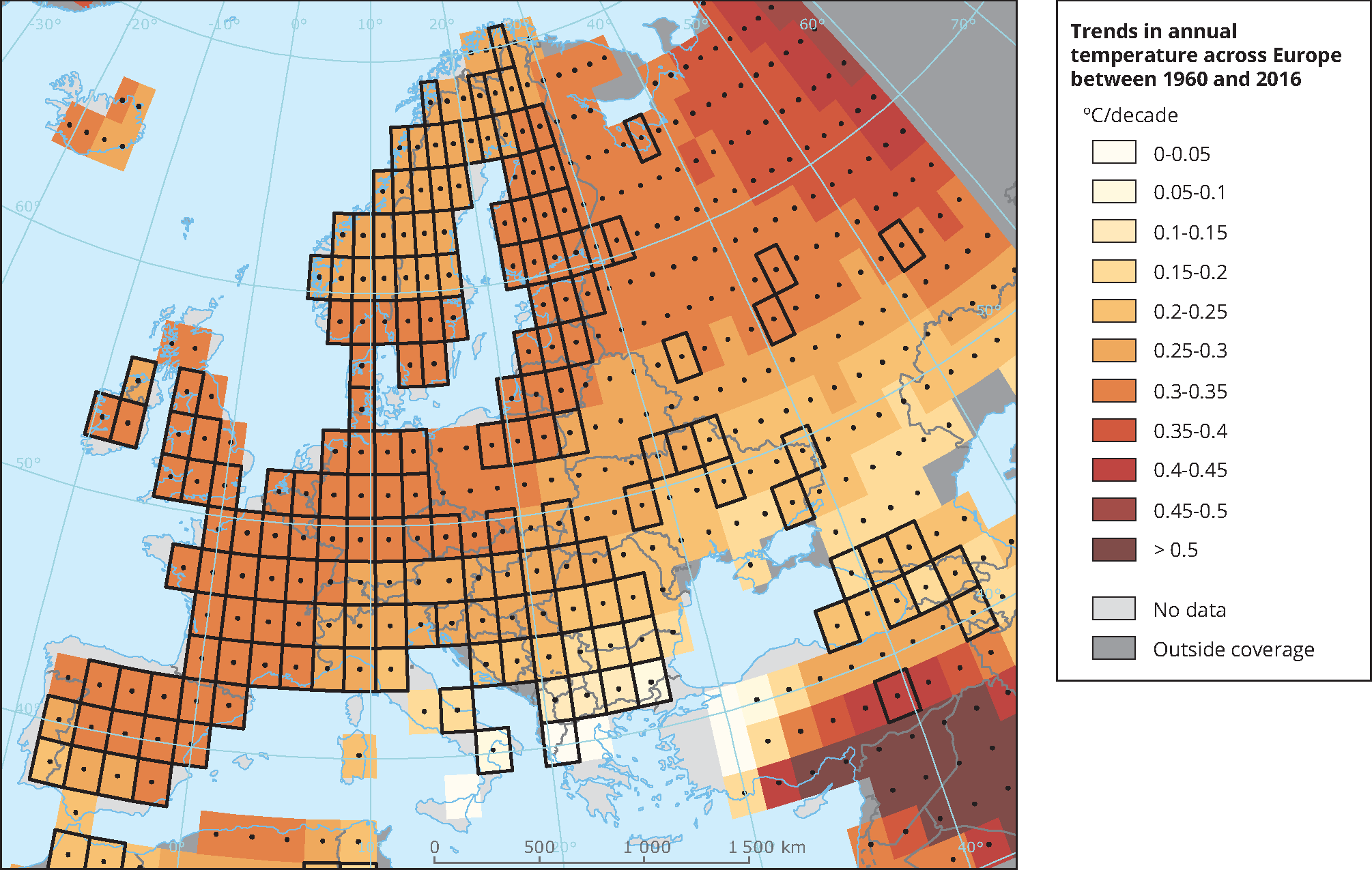Trends in annual temperature across Europe between 1960 and 2016