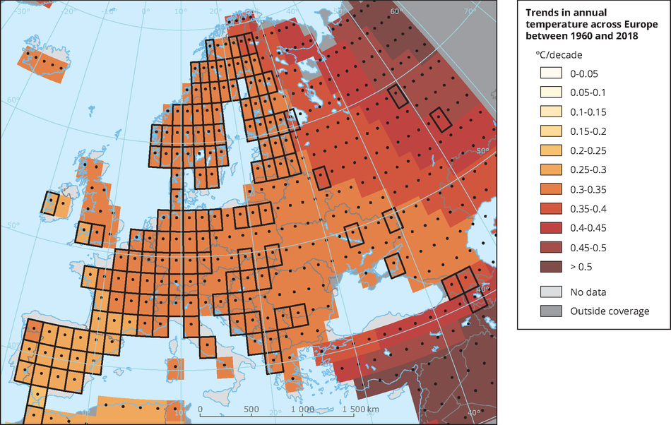 Trends in annual temperature across Europe between 1960 and 2018
