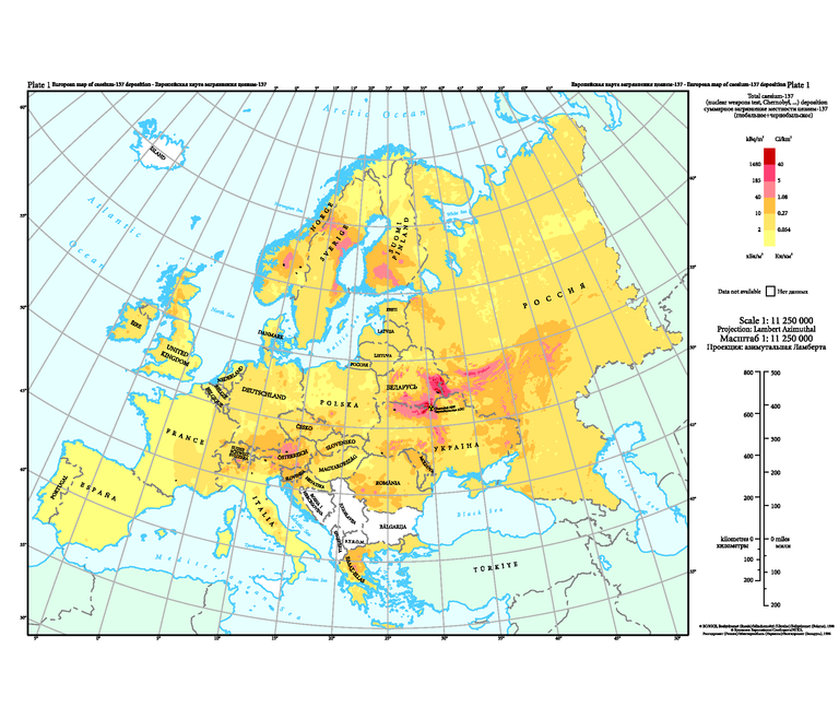 Deposition from Chernobyl in Europe — European Environment ... on ussr map, chernobyl disaster, deaths due to the chernobyl disaster, yalta map, s.t.a.l.k.e.r.: shadow of chernobyl, minsk map, pripyat river, moscow map, chernobyl disaster effects, vladivostok map, russia map, kazan map, balkan peninsula map, new safe confinement, fukushima map, ukrainian national chernobyl museum, ukraine map, pripyat map, grozny map, crimean map, donetsk map, prypjat vergnügungspark, kiev map, siberia map, poland map, red forest, chernobyl nuclear power plant sarcophagus, italy map, belarus map, three mile island accident, kyshtym disaster, europe map, chernobyl necklace, polissya hotel,