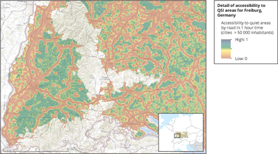 Detail of accessibility to quietness suitability index (QSI) areas for Freiburg