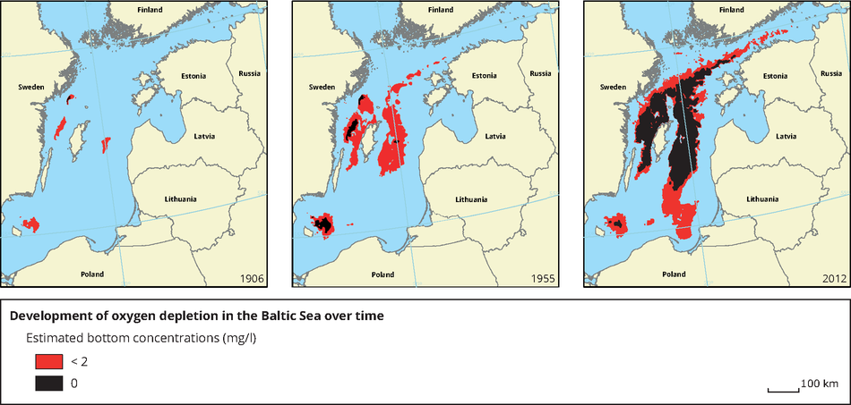 Development of oxygen depletion in the Baltic Sea over time