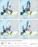 Development of water intensity of crop production in Europe (2007-2016)