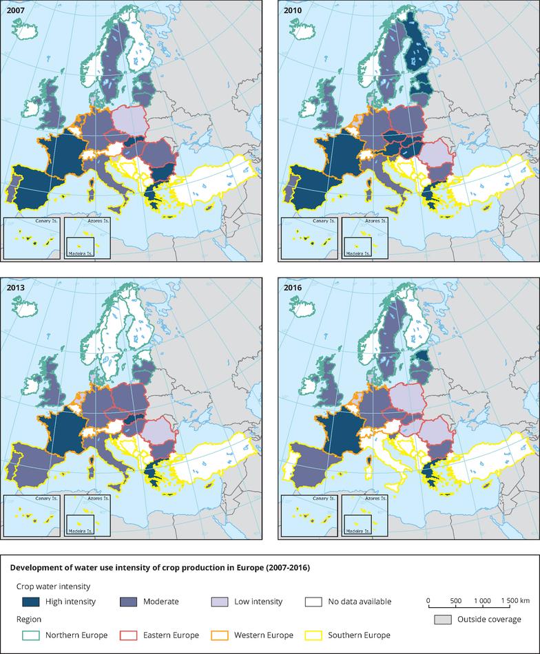 Development of water intensity of crop production in Europe (2007-2016)