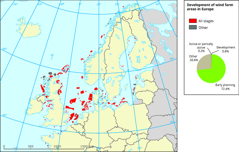 offshore wind farms europe map Development of wind farm areas in Europe — European Environment Agency