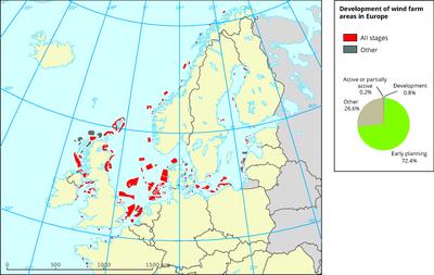 Development of wind farm areas in Europe