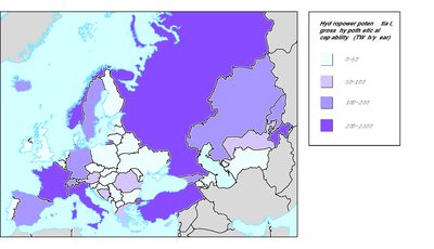 Distribution of natural resources in the pan-European region for selected issues