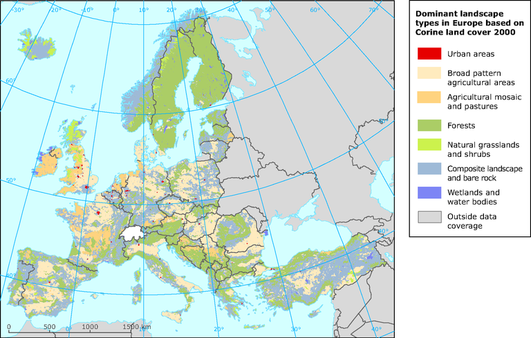 Dominant landscape types in Europe based on Corine Land Cover (CLC ...