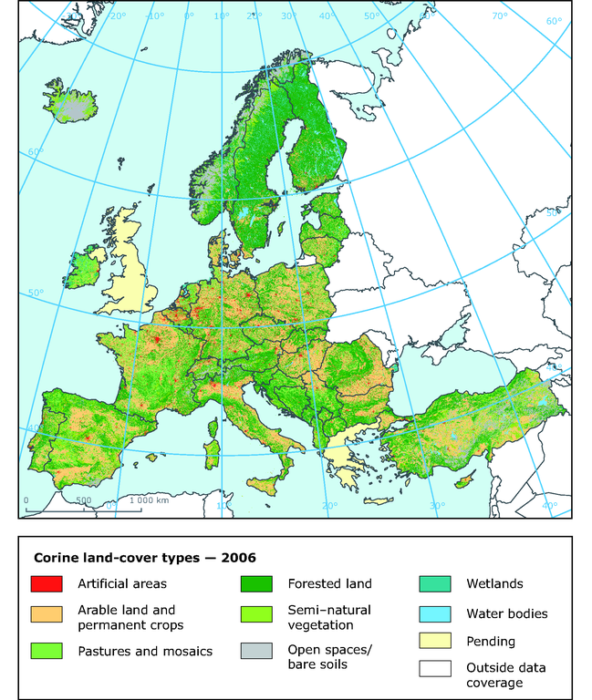 Green Map Of Europe.European Land Cover In 2006 Main Land Cover Categories Of Europe