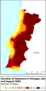 Duration of heatwave in Portugal, July and August 2003