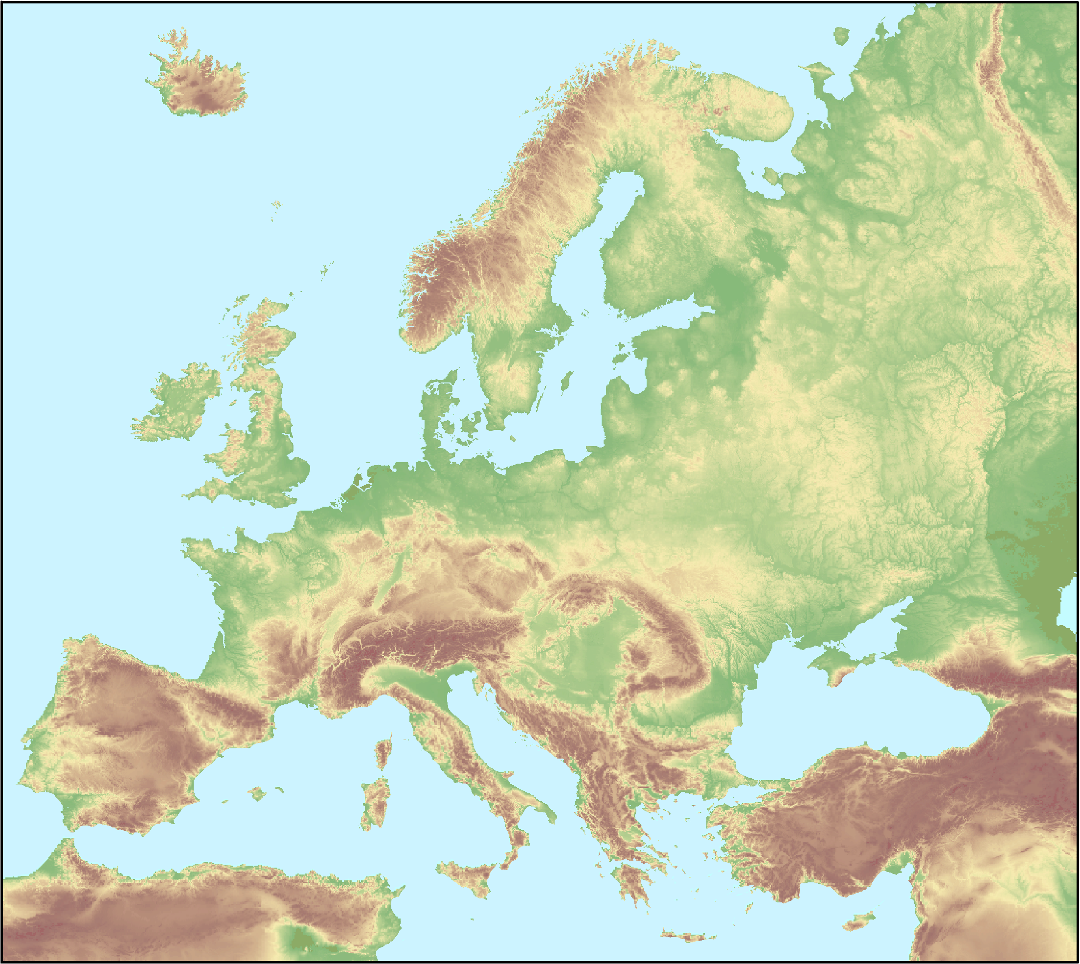 Elevation map of Europe — European Environment Agency