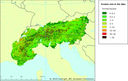 Erosion rate in the Alps