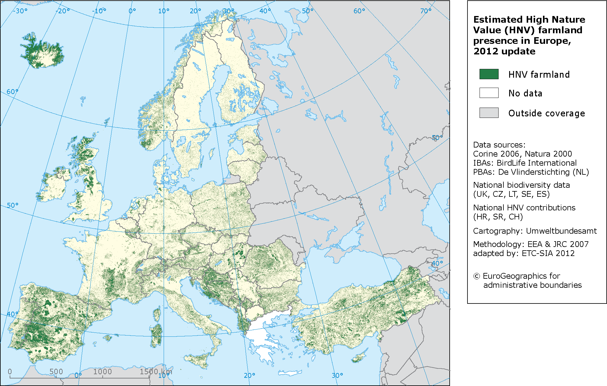Estimated High Nature (HNV) presence in Europe — European ...
