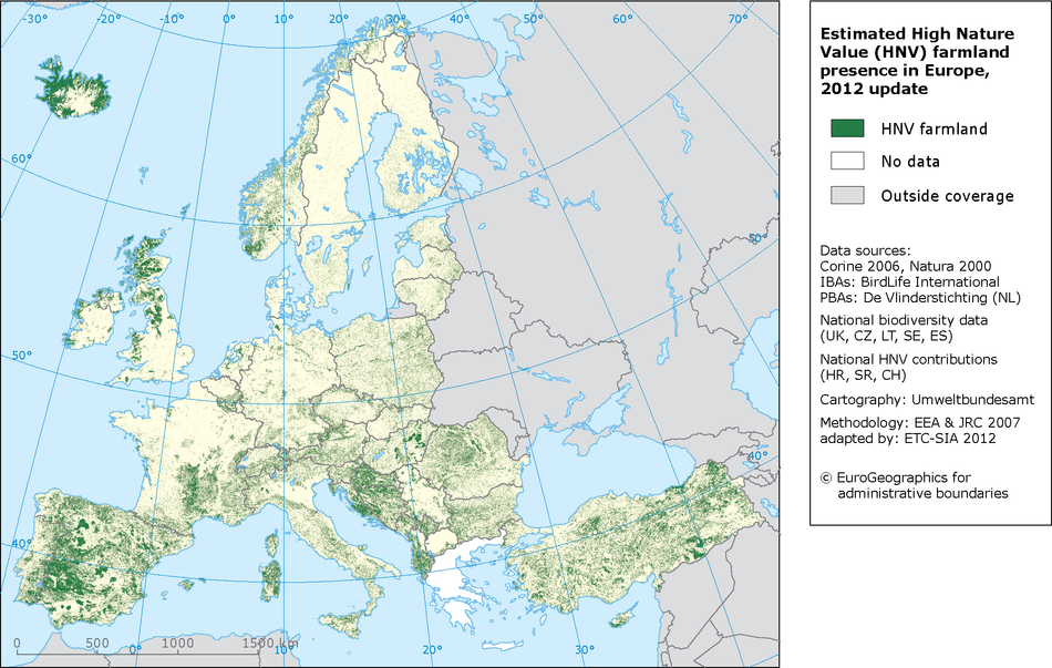 Estimated High Nature (HNV) presence in Europe