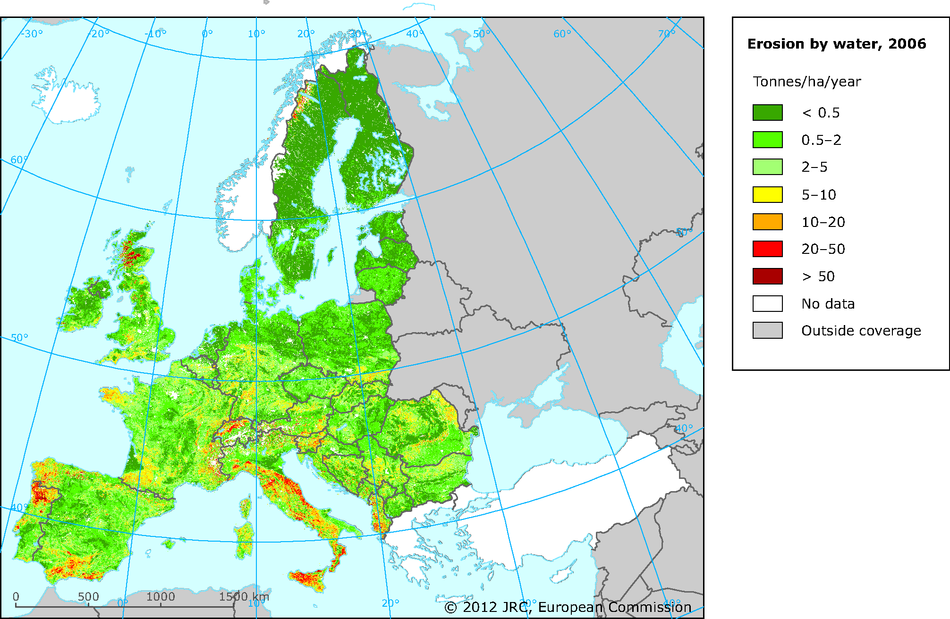 Estimated soil erosion by water in Europe