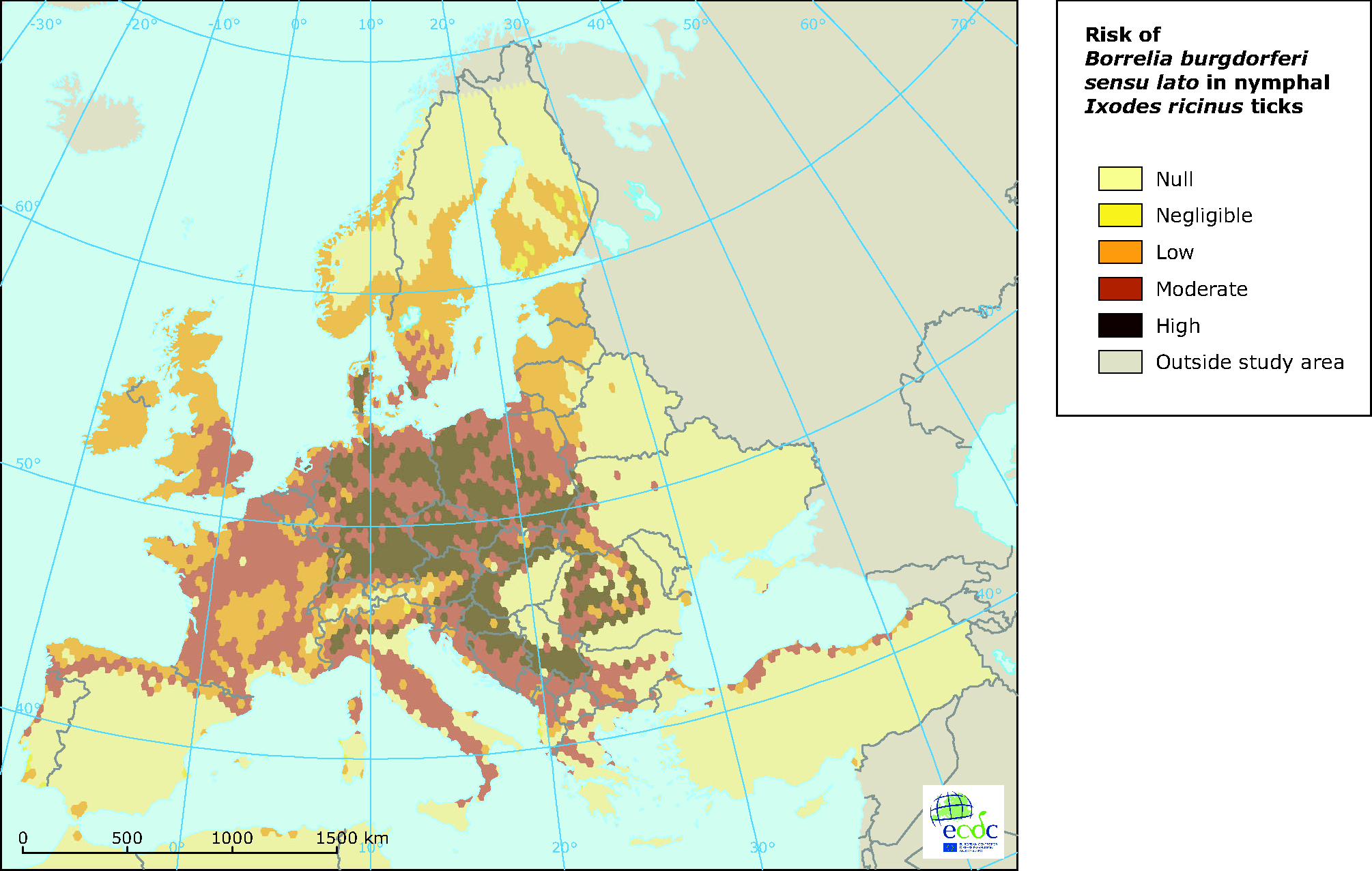 European distribution of Borrelia burgdorferi in questing I. ricinus ticks